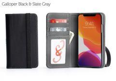 Bella Fino iPhone 11 Pro Max Wallet Cases-Galloper Black & Slate Gray-Standard Strap (blk)