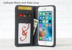 Bella Fino Leather iPhone SE Wallet Cases-Galloper Black-Slate Gray