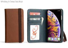 Bella Fino Edition Leather iPhone XS Max Case-Whiskey & Deep Sea Blue-Standard Strap