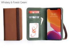 Bella Fino iPhone 11 Pro Max Wallet Cases-Whiskey & Forest Green-Standard Strap (ws)