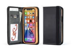 Luxury Pocket Book for iPhone 12 Pro/6.1-Galloper Black & Slate Gray-American Cherry