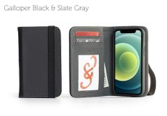 Bella Fino Edition iPhone 12 5.4-Galloper Black & Slate Gray-Standard Strap