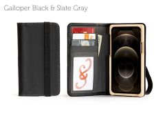 Luxury Pocket Book iPhone 12 Pro 6.1-Galloper Black & Slate Gray