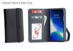 Bella Fino iPhone 11 Pro Wallet Cases-Galloper Black & Slate Gray-Standard Strap (blk)