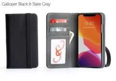 Bella Fino iPhone 11 Pro Max Wallet Cases-Galloper Black & Slate Gray-Standard Strap (blk)