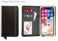 Luxury Book iPhone 11 Pro Max Wallet Case-Galloper Black & Slate Gray