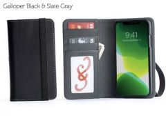 Bella Fino Edition iPhone 11 Wallet Cases-Galloper Black & Slate Gray-Standard Strap