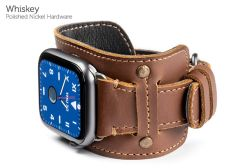 Cafe Cuff Bands for Apple Watch-Whiskey-Polished Nickel