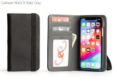 Bella Fino Edition Leather iPhone XS Case-Galloper Black & Slate Gray-Standard Strap