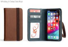 Bella Fino Edition Leather iPhone XS Case-Whiskey & Deep Sea Blue-Standard Strap