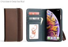 Bella Fino Edition Leather iPhone XS Max Case-Chocolate & Deep Sea Blue-Standard Strap