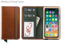 Luxury Pocket Book iPhone 12 Pro Wallet Cases-Whiskey & Forest Green