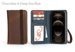Bella Fino Edition iPhone 12 Pro 6.1-Chocolate & Deep Sea Blue-Standard Strap