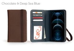 Bella Fino Edition iPhone 12 Pro 6.7-Chocolate & Deep Sea Blue-Standard Strap