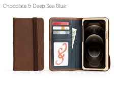 Luxury Pocket Book iPhone 12 Pro 6.1-Chocolate & Deep Sea Blue