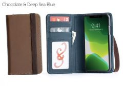 Bella Fino Edition iPhone 11 Wallet Cases-Chocolate & Deep Sea Blue-Standard Strap
