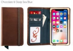 Luxury Book iPhone 11 Pro Max Wallet Case-Chocolate & Deep Sea Blue
