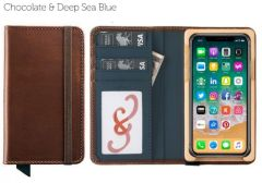 Luxury Book iPhone 11 Pro Wallet Case-Chocolate & Deep Sea Blue
