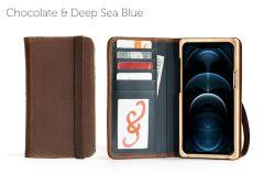 Luxury Book iPhone 12 Pro 6.7-Chocolate & Deep Sea Blue