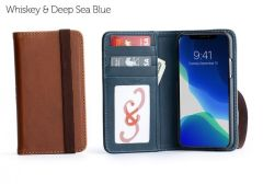 Bella Fino iPhone 11 Pro Wallet Cases-Whiskey & Deep Sea Blue-Standard Strap (ws)