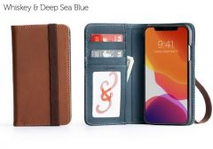 Bella Fino iPhone 11 Pro Max Wallet Cases-Whiskey & Deep Sea Blue-Standard Strap (ws)