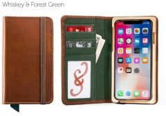 Luxury Book iPhone 11 Pro Max Wallet Case-Whiskey & Forest Green