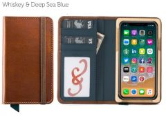 Luxury Book iPhone 11 Pro Wallet Case-Whiskey & Deep Sea Blue