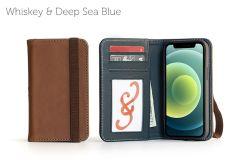 Bella Fino Edition iPhone 12 5.4-Whiskey & Deep Sea Blue-Standard Strap
