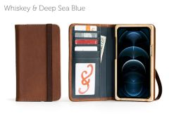 Luxury Book iPhone 12 Pro 6.7-Whiskey & Deep Sea Blue