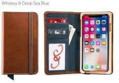 Luxury Book iPhone 11 Pro Max Wallet Case-Whiskey & Deep Sea Blue