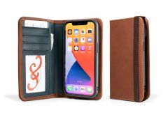 LeatherSafe™  Pocket Book for iPhone 13 Pro-Whiskey & Deep Sea Blue
