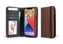 LeatherSafe™  Pocket Books for iPhone 13 Pro-Chocolate & Deep Sea Blue
