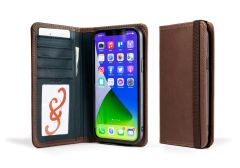 LeatherSafe™  Pocket Book For iPhone 13 Pro Max-Chocolate & Deep Sea Blue