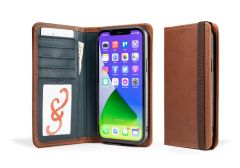 LeatherSafe™ Pocket Book for iPhone 13 Pro Max-Whiskey & Deep Sea Blue