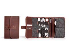TechFolio Leather Travel Cord Organizers-Chestnut