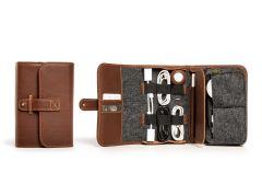 TechFolio Leather Travel Cord Organizers-Whiskey