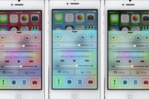 With iOS7, the control panel can now be accessed from the locked screen.