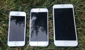 iPhone 5, iPhone 6 4.7 and iPhone 6 5.5 next to each other.
