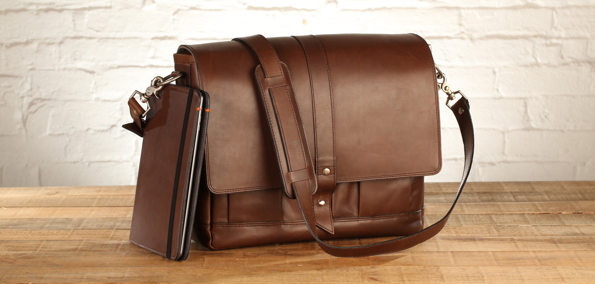 The Attache Leather Bag and Oxford case for iPad Air