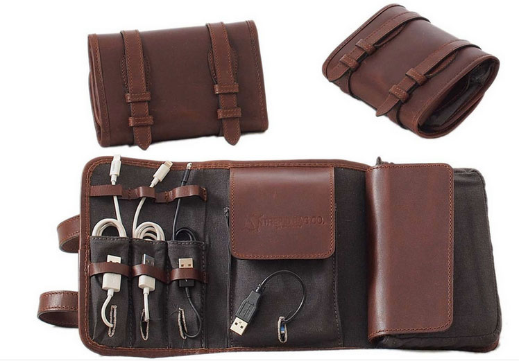 Leather Cord Organizer and Tool Roll