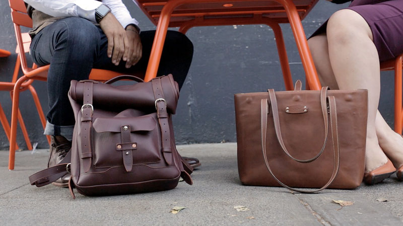 leather roll top backpack and leather tote bag
