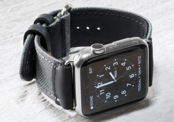 Cordura and leather watch band for Apple Watch