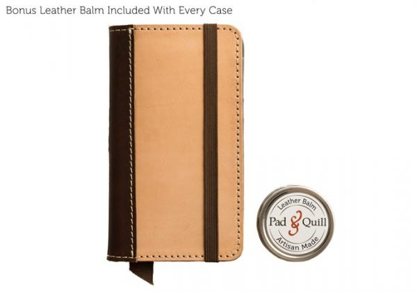 heritage veg leather iphone case with balm