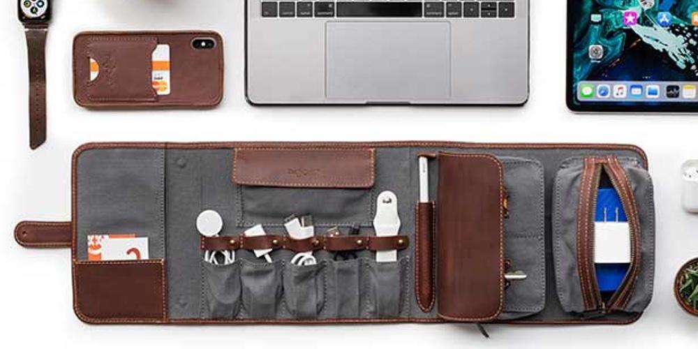 leather tie travel case